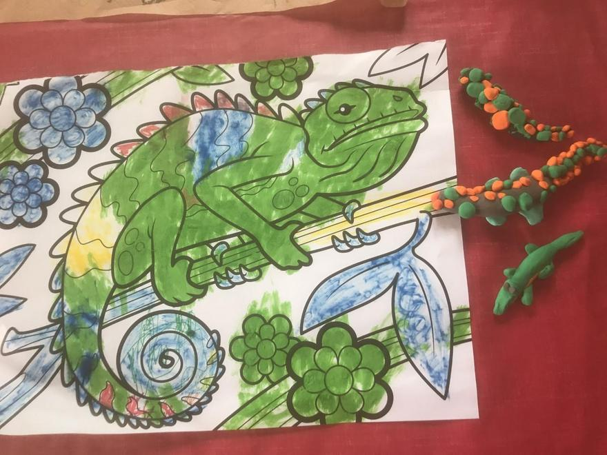 Theo - colourful iguana and clay lizards