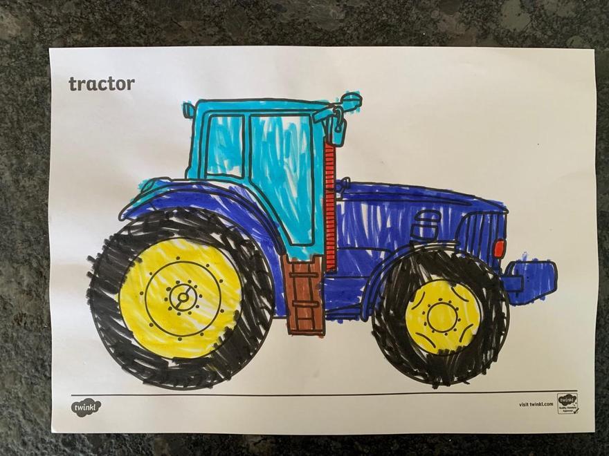 Hugo is proud of his tractor
