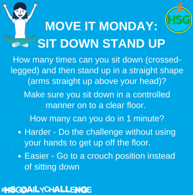 Today's exercise, sit down stand up.