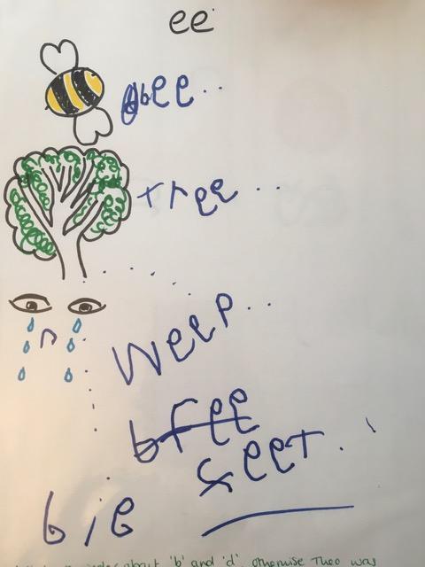 Theo's ee word writing - fantastic!