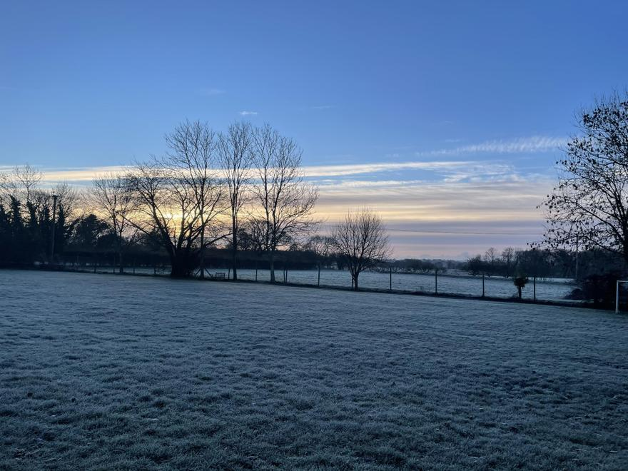 A view across the fields at school this morning