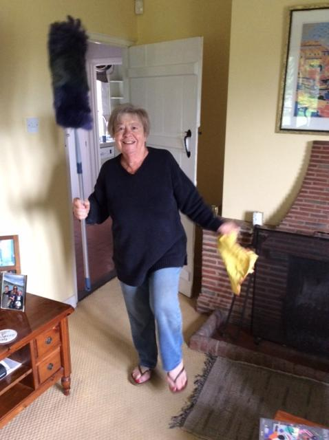 Happy housework with skipping and music