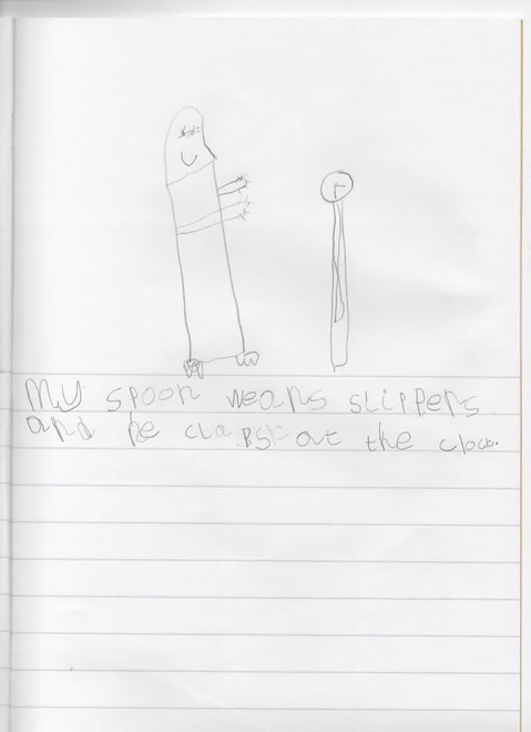 Paige's silly sentence about a spoon in slippers!