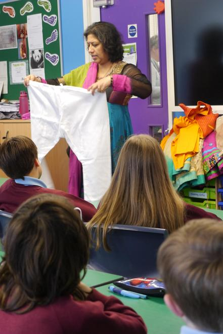 A visitor demonstrated some tradition dress from Pakistan
