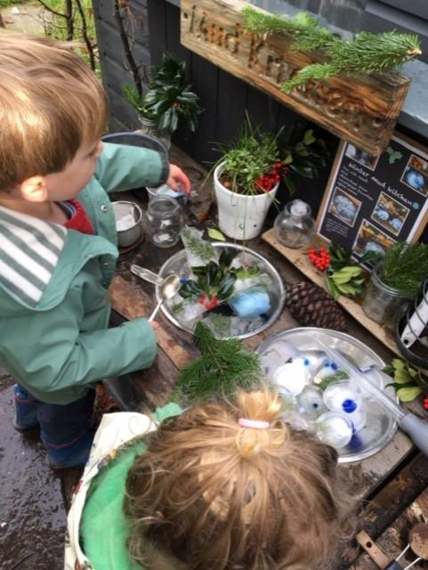 a little ice cooking in the mud kitchen