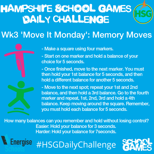 Hampshire School Games Daily Challenge: Monday