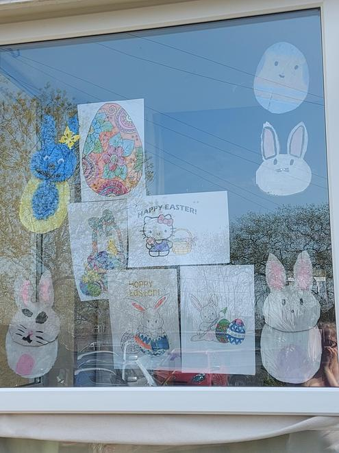 Our colourful Easter window.