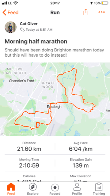 Half marathon completed!