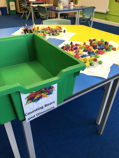 Sorting and washing  the counting bears