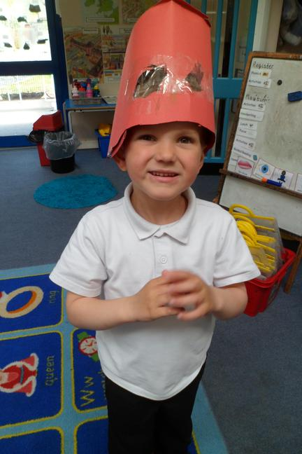 Cameron designed his own knight's helmet