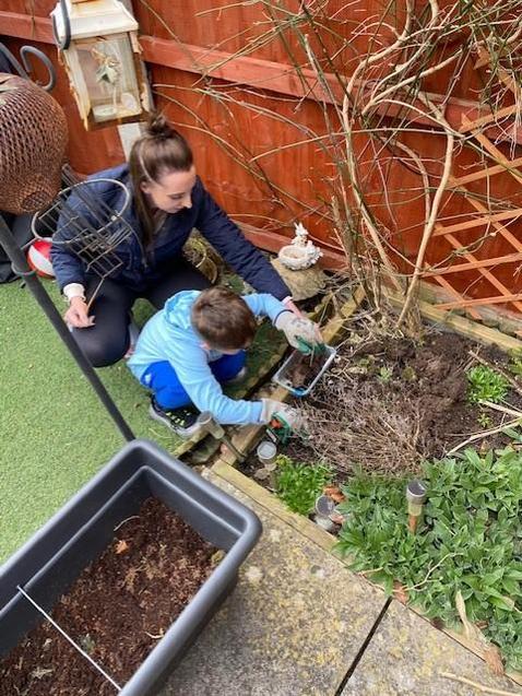 Freddie gardening.