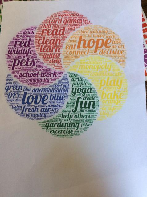 Abbie's lovely rainbow word art