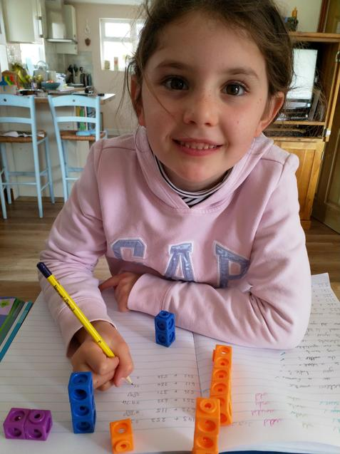 Nerys working on her maths