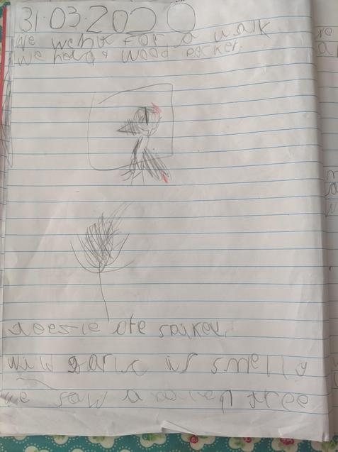 Etta wrote about her adventures in the woods.