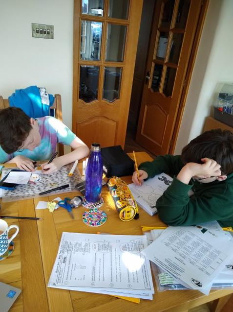 Ethan and his brother working on their maths