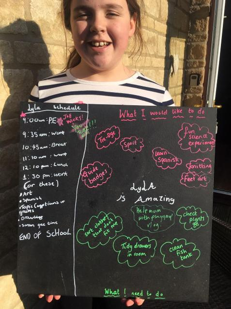 Lyla's home learning schedule