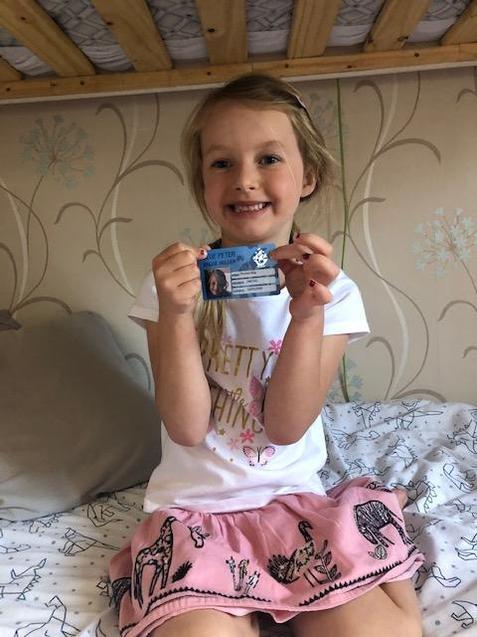 Phoebe has an actual Blue Peter card!
