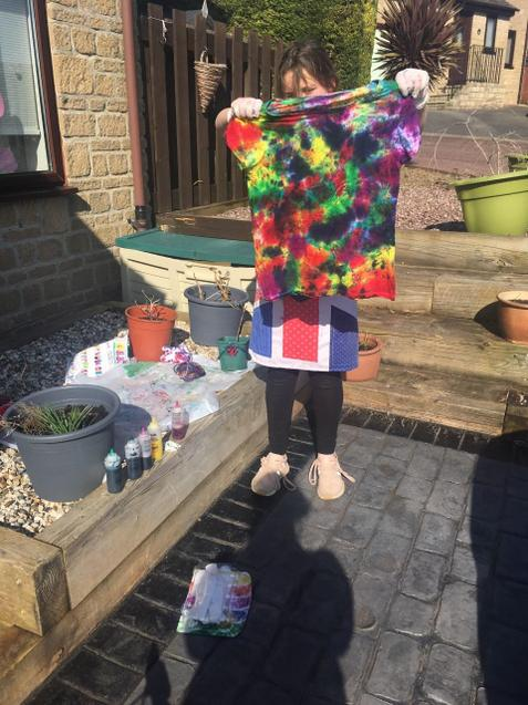 Lyla has discovered the art of tie dying!