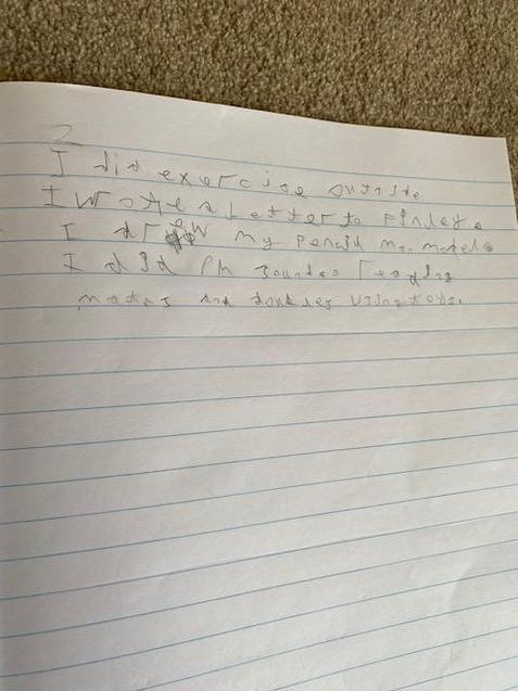 Freddie writing