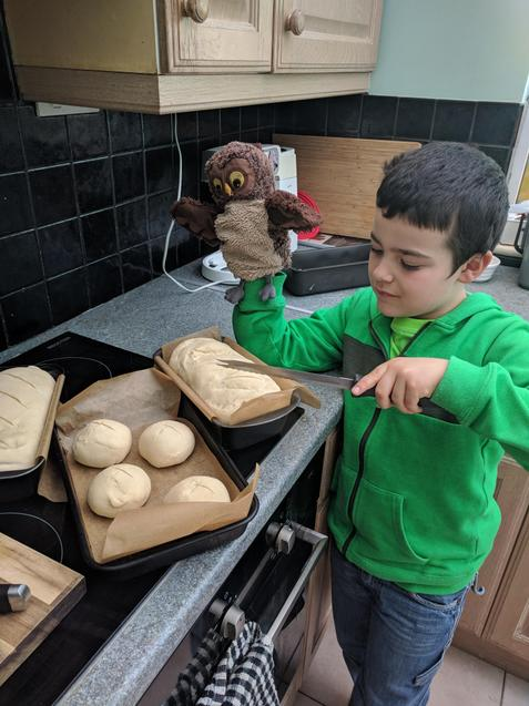 Dexter and Oscar making some bread