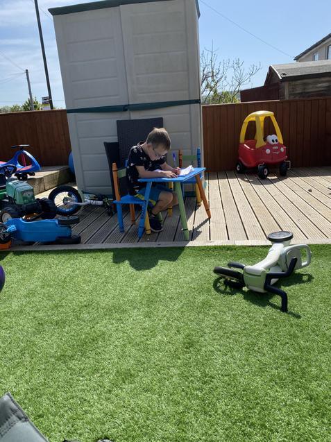 Finley hard at work in the garden!
