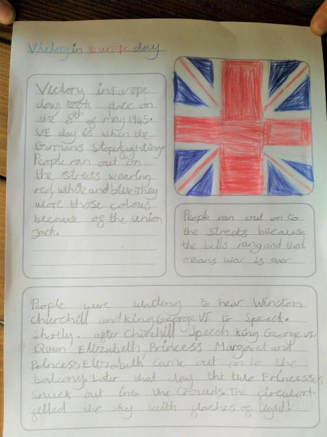 Nerys' fact sheet she created about VE day