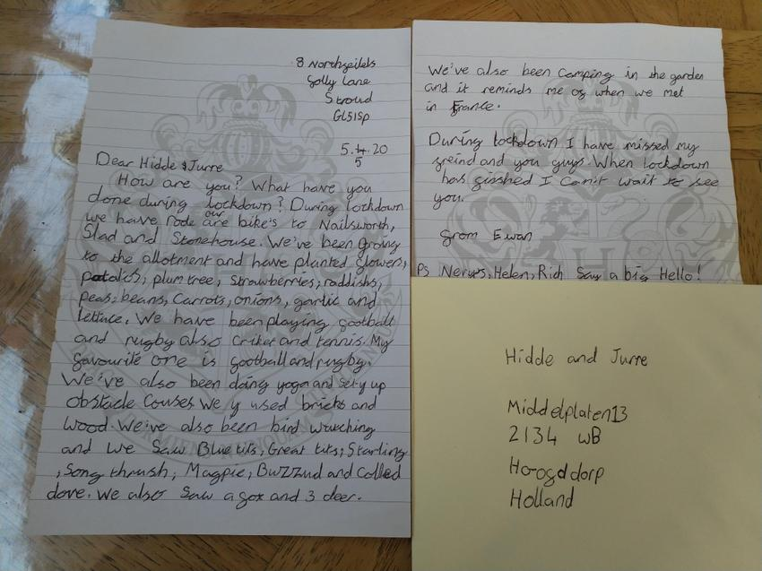 Ewan's letter to his Dutch pen pal