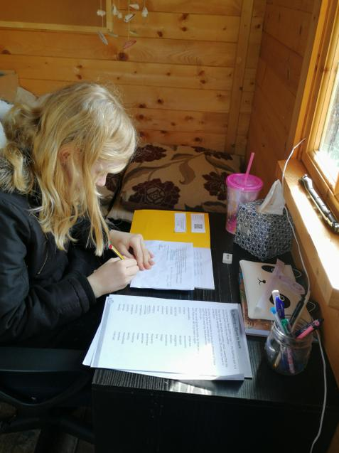 Abbie has set up her office in the shed.