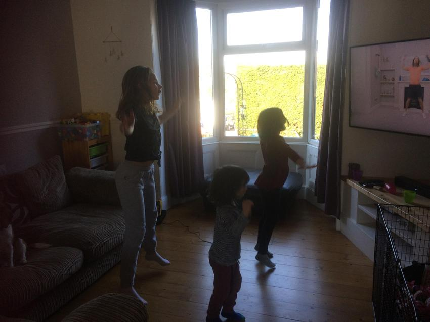 The Blackwell family working out with Joe Wicks