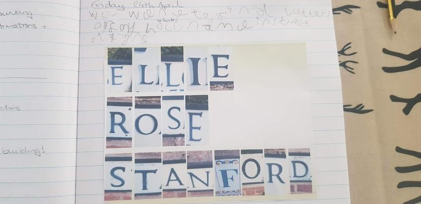 Ellie has made her name in sign letters.