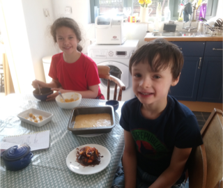 Noah and Izzy taking part in their own Masterchef.