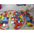 Sorting shapes in maths.