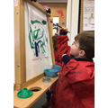 Painting on our easel
