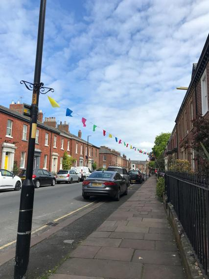 Our street getting ready for VE day.