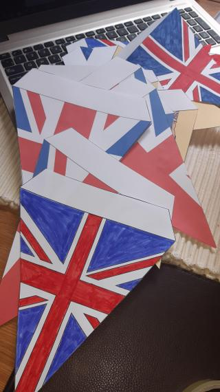 Creating bunting for VE day.