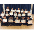 Last (but definitely not least) congratulations to all in this picture. Every single child has moved up a book band since September. Super reading everyone, well done!