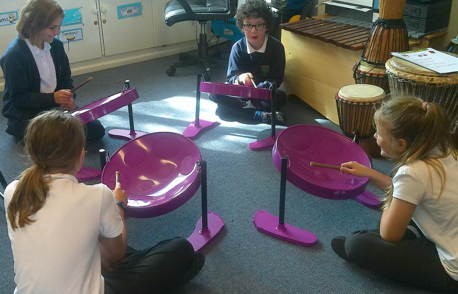 Extra-curricular snapshot - part of the steel pan drum section in Let's Go, Safari!