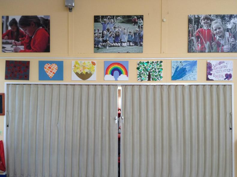 Our canvases on display in our school hall
