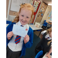 Pleased with her letter.