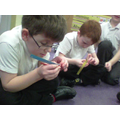 We made triangles from card lengths