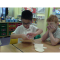 We learned to pin 2 pieces of fabric together