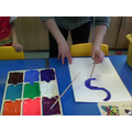 Then we used swirling brush strokes