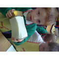 Next we made butter from cream!