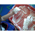 Writing numbers in shaving foam