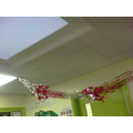 Garlands hanging from the ceiling!