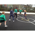We are learning to run with the ball in rugby