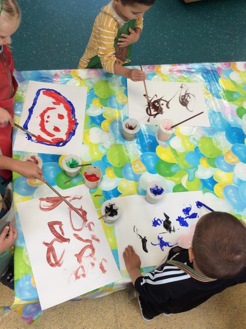 We painted a portrait of ourselves using paint and brushes