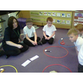 We sorted different materials into hoops