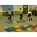 We practised hop scotching