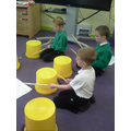 We are still learning bucket drumming